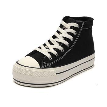 乔驰全黑厚底增高加绒高帮帆布鞋