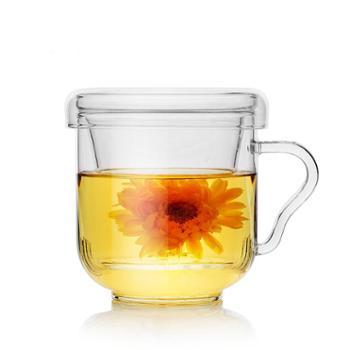 谁美 芳茗杯透明耐热玻璃杯办公带盖过滤花茶杯创意水杯茶杯子yj