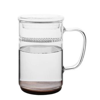 谁美玻璃茶杯带茶滤耐热男女士办公泡茶杯创意带盖带把手水杯子yj