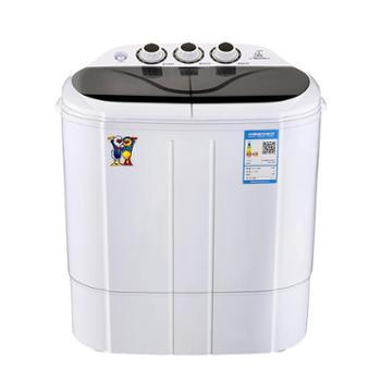 小鸭2.5公斤双缸半自动迷你洗衣机婴儿宝宝小洗衣机蓝光款XPB25-1680S