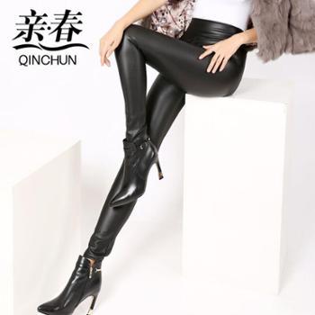 【亲春】韩版高腰加绒水晶皮打底裤【千盛百货】A176