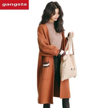 【gangsta】新款针织衫宽松百搭V领长袖毛衣外套M623