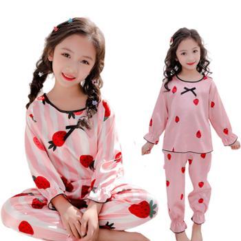 亲春儿童家居服女童睡衣套装长袖冰丝中大童仿真丝绸空调服HC16圆领套装