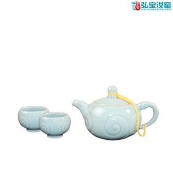 弘宝汝窑粉青釉三羊开泰一壶两杯茶组套装