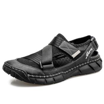 上匠风华织物牛皮橡胶底凉鞋2066
