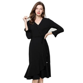 sandalling新款长袖圆领时尚气质蕾丝裙6262100%聚酯纤维