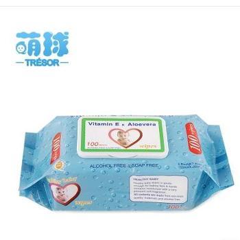 湿巾婴儿5*100抽新生儿手口无香带盖湿巾儿童湿纸巾*