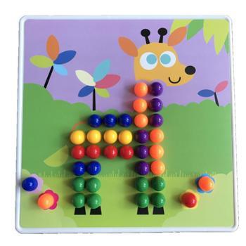 儿童蘑菇钉组合拼插板拼图宝宝益智1-2-3周岁动物拼板男女孩玩具