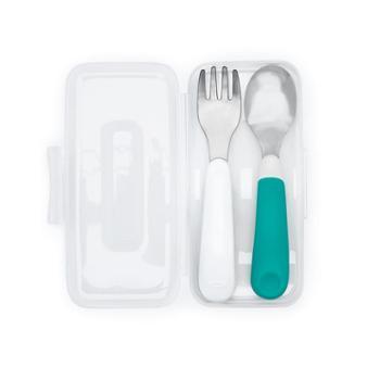 OXO奥秀不锈钢叉勺套装勺子叉子儿童宝宝餐具婴儿训练勺带盒