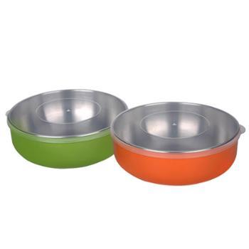 利鲁奇 宝宝吃饭碗餐具 儿童保温碗 不锈钢碗 婴儿防摔吃饭辅食碗