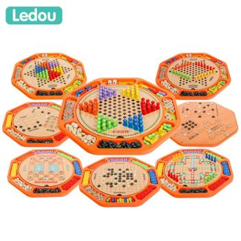 moondog 儿童跳棋飞行棋木制多功能游戏棋五子棋象棋斗兽棋益智棋成人玩具