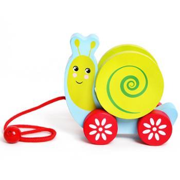 小角丫木质动物拖拉车宝宝儿童早教开发益智力玩具