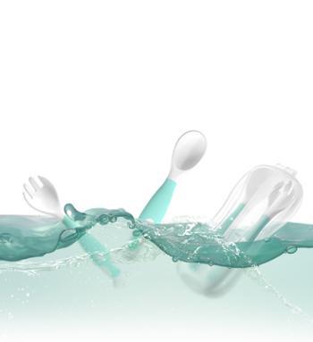 Nemohome婴儿勺子宝宝学吃饭训练辅食一岁弯头歪把硅胶软勺儿童餐具可弯曲