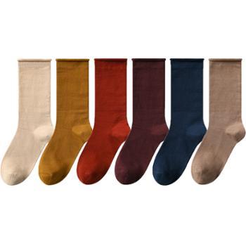 名优创品 女士堆堆袜 中长筒棉袜 6双装