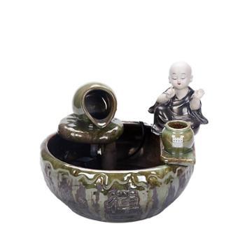 乾林小艺新中式家居流水喷泉加湿器陶瓷工艺品摆件水景鱼缸