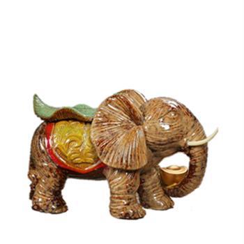 陶瓷工艺品元宝招财大象摆件