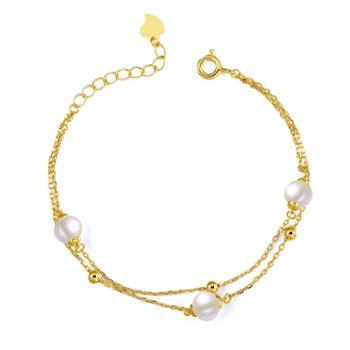 仙蒂瑞拉双层简雅6-6.5mm精致时尚珍珠手链925银手链附证书