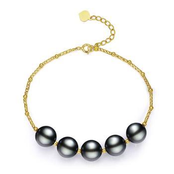 仙蒂瑞拉时尚气质18K珍珠手链大溪地黑珍珠手串正圆强光气质迷人附证书