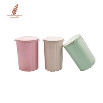 天然环保小麦秸秆分格五谷杂粮密封罐厨房保鲜储物罐一个颜色随机