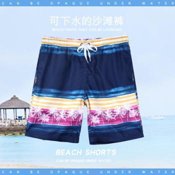 佑游海边度假用品沙滩裤男舒适印花宽松速干五分短裤男温泉游泳裤