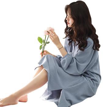 妮狄娅家居服新款女士睡衣睡裙棉质长袖简约纯色休闲中长款少女居家服XF93165