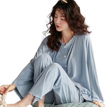 妮狄娅女士睡衣棉质长袖条纹简约优雅时尚纯色开衫家居服套装兰XF20500白XF93219豆沙XF93218