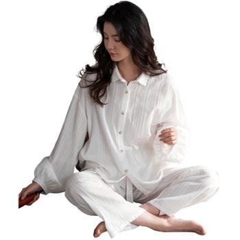 妮狄娅女士睡衣梭织纯棉长袖条纹XF20313
