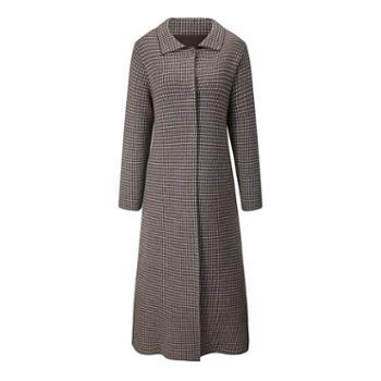 巴音孟克纯羊绒大衣长款修身千鸟格羊绒大衣修身加长