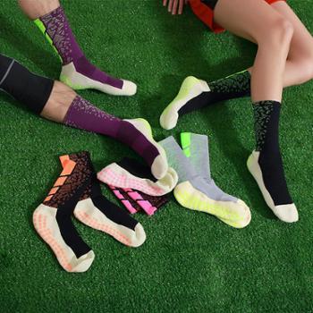 点胶防滑足球袜加厚毛巾底中筒袜跑步户外运动袜