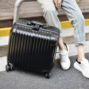 (行李箱)万向轮铝框拉杆箱18寸女迷你电脑箱密码旅行箱小登机箱铝框款