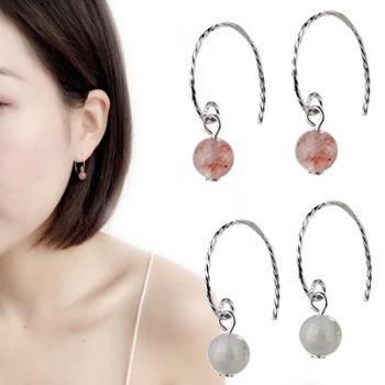 招桃花草莓晶耳钩韩国网红月光石耳环仙女气质短款耳饰