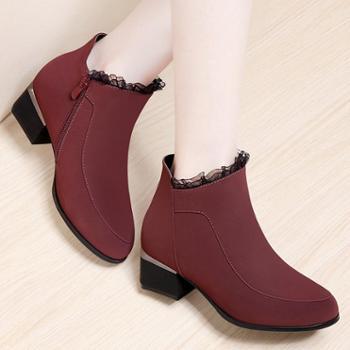 施悦名新款靴子女短靴欧美时尚高跟方跟蕾丝女靴