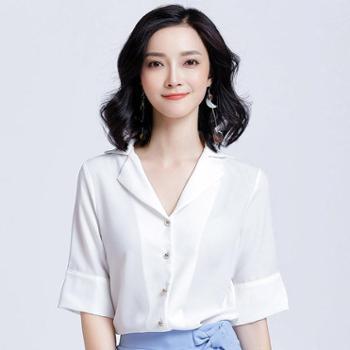 雪纺衫女短袖上衣洋气小衫夏装韩版宽松时尚OL衬衣百搭职业白衬衫