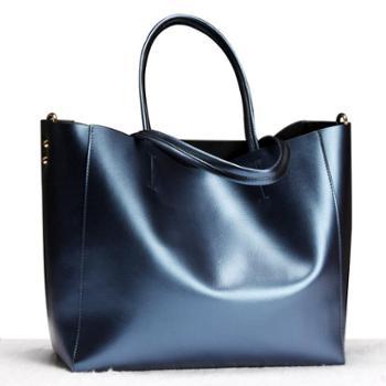 新款真皮女士手提包欧美时尚大容量购物袋软把单肩包