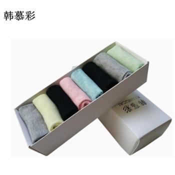 韩慕彩8双盒装纯色时尚女士短筒袜W1451款