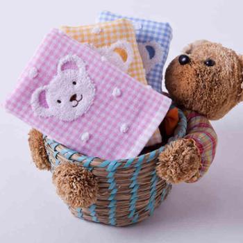 金号 毛巾T1091WH 纯棉双层布艺/格子小熊童巾 2条袋装