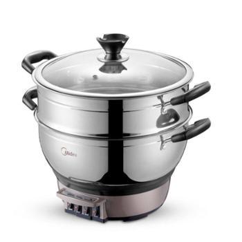 Midea/美的 电热锅电火锅炒煎煮炖2100W蒸304不锈钢家用多功能热锅 DHN30A