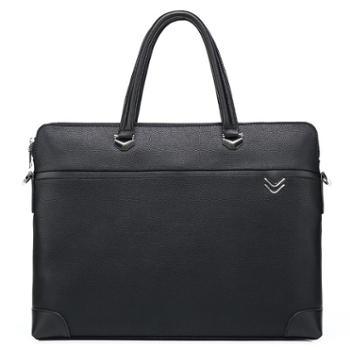 费洛新款头层牛皮单肩斜跨电脑包横款男商务公文包真皮男士手提包