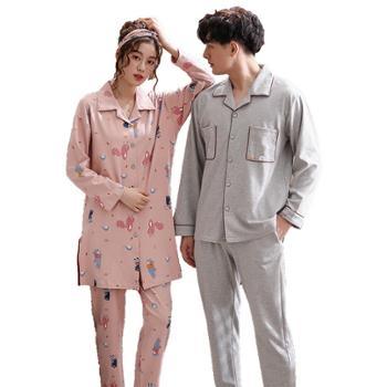 菲蜜莉纯棉情侣睡衣可爱卡通少女韩版家居服长袖男士大码套装