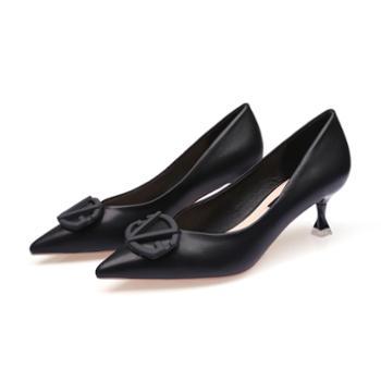 淇路缘尖头百搭高跟鞋女细跟V扣浅口单鞋