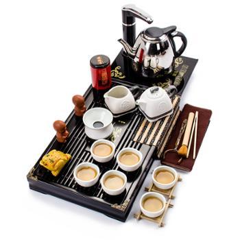聚森 青花白瓷茶具实木茶盘套装