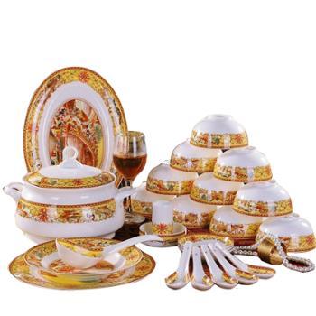竹林间 56头釉中彩骨瓷清明上河图餐具套装