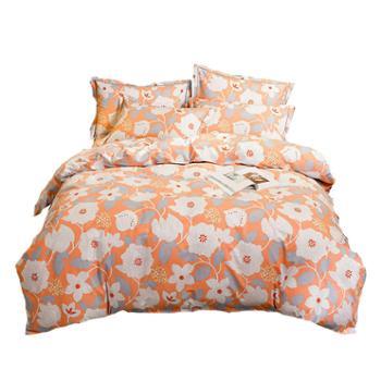 罗莱雅 全棉磨毛四件套床上用品花卉风 纯棉