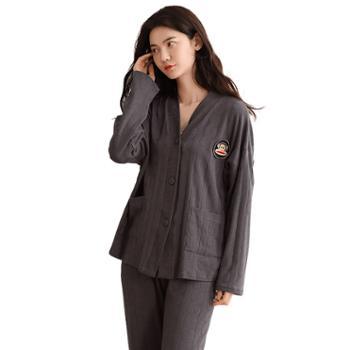 青年里韩版情侣长袖宽松男女士外穿睡衣两件套全棉