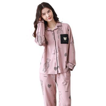 青年里韩版情侣长袖开衫睡衣套装全棉