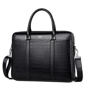 芬莎顿王冠商务大容量时尚男士鳄鱼纹手提包