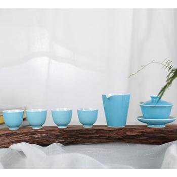 金和汇景高温颜色釉天蓝六头茶具