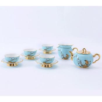 金和汇景-夫人瓷西湖蓝12头功夫茶具