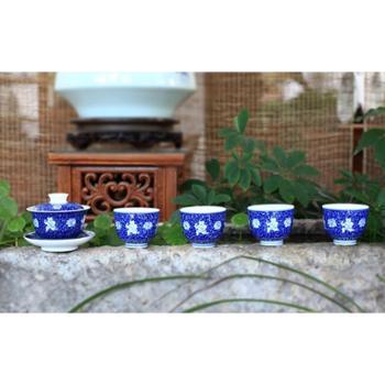 手绘青花蓝地莲生贵子5头茶具