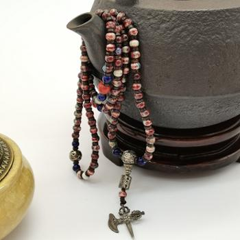 金和汇景-法门寺开光香灰瓷珠念串贵妃红